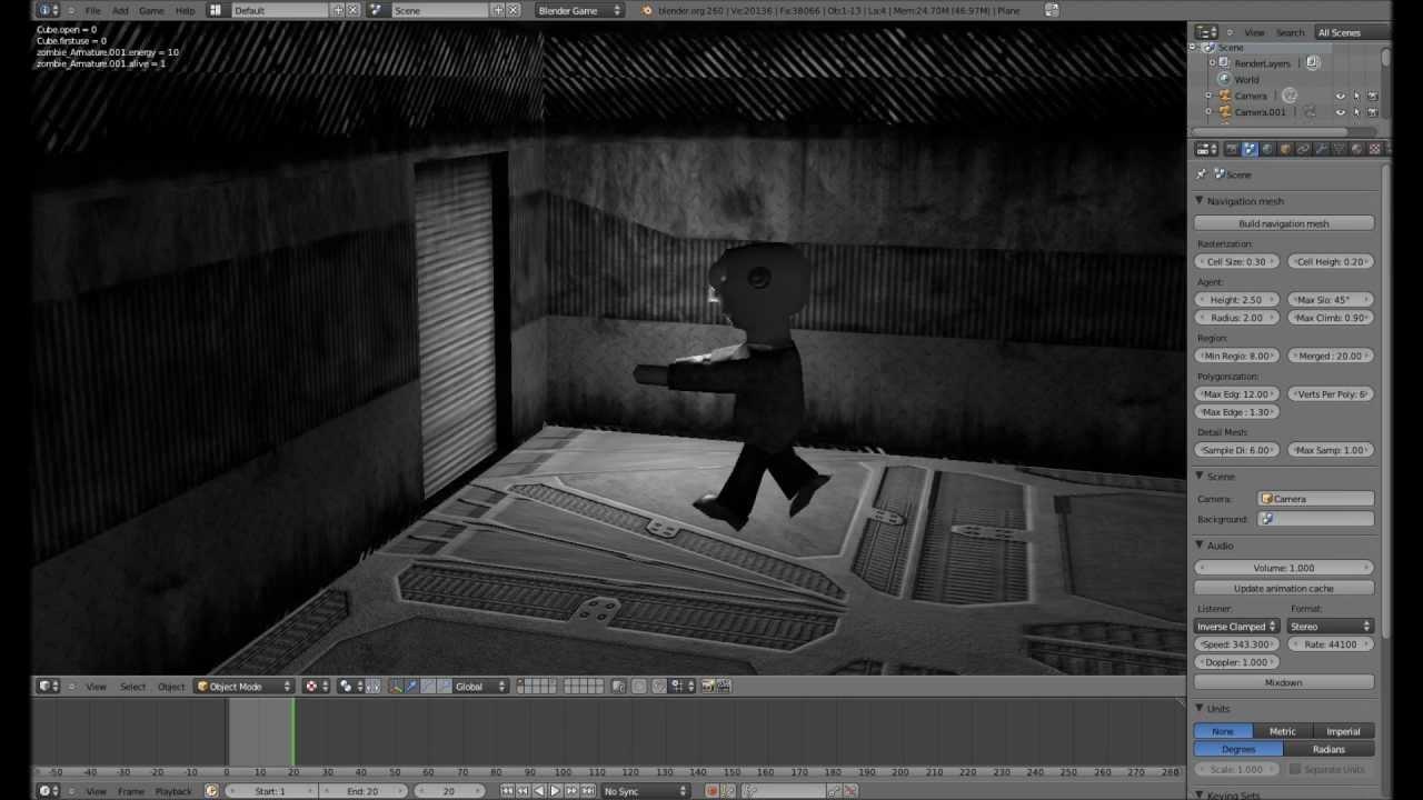 Kamerawechsel und 2D Filter - Blender 3D Game Engine Tutorial