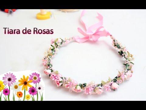 Como hacer una Tiara o Corona Floral para niñas. Diadema de Rosas