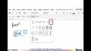 Equations (Equation Editor) in Google Docs