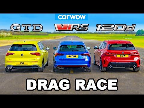 VW Golf GTD v BMW 120d v Skoda Octavia vRS: DRAG RACE