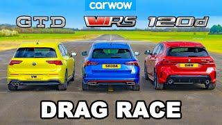 [carwow] VW Golf GTD v BMW 120d v Skoda Octavia vRS: DRAG RACE