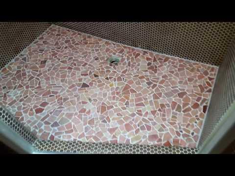 Polygonalfliesen Polygonalplatten Bruchsteinfliesen Mosaikfliesen verfugen ausfugen Dusche