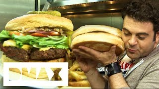 Adam Battles Against This 7 LB Burger That Can Feed 8 People At Once   Man V Food