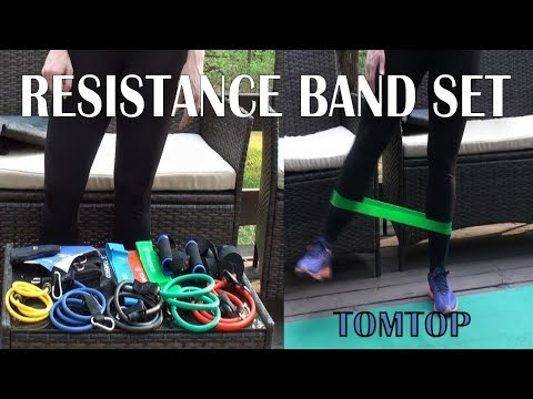 ⭐RESISTANCE BAND SET 17 PIECE TOMTOP (Tube & Loop)  BEGINNER -ADVANCED - FITNESS EQUIPMENT REVIEW 👈