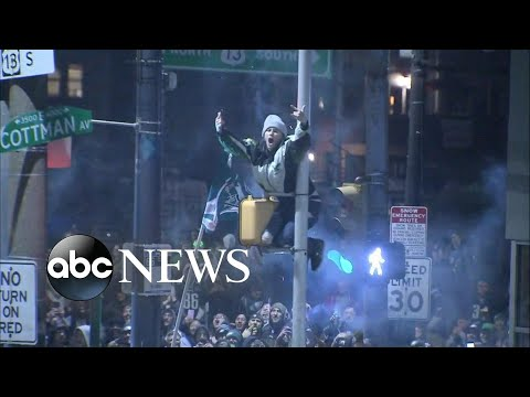 Eagles fans celebrate in the streets after Super Bowl win
