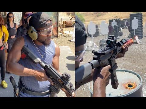 "Kevin Hart Practicing At Gun Range For Him And Drake New Movie ""Man From Toronto"""