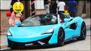 😱 See what She did when she saw Santa has a McLaren 570S 🤑