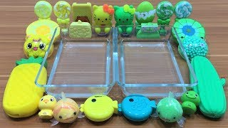 Mixing clay and floam Into Clear Slime ! yellow VS Green Special Series Part 6/ Relaxing Slime.