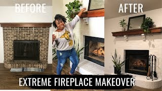 Extreme Fireplace Makeover : I Painted Our Fireplace White!