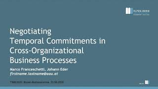 Negotiating Temporal Commitments inCross-Organizational Business Processes. By Marco Franceschetti
