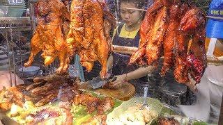 Chinese Street Food in Bangkok, Thailand. Jumbo Lobster, Crispy Pork, Duck, Prawn, Squid and More