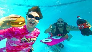 We tried to EAT food UNDERWATER!!
