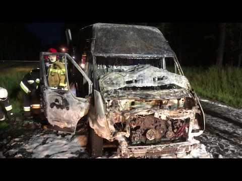 Wideo1: Ford transit spłonął doszczętnie po zderzeniu z jeleniem na trasie Krzyżowiec - Włoszakowice