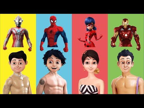 Wrong Dress Shiva ANTV Ironman Ladybug Spiderman Ultraman Ribut Finger Family Nursery Rhyme for Kids