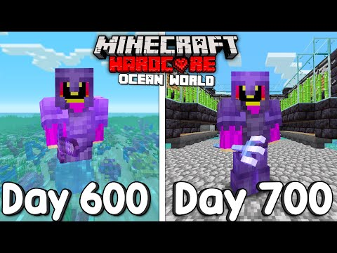 I Survived 700 Days Of Hardcore Minecraft, In an Ocean Only World...
