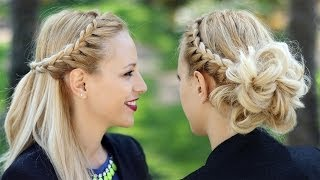 Braided updo hairstyle + Party half up half down for medium/long hair tutorial