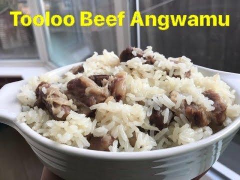 Tooloo Beef Angwamu/Ghanaian Oil Rice with Salted Beef