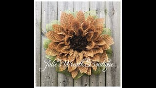 Burlap Flower Wreath / Facebook Live REPLAY / DIY Flower Wreath Tutorial / New Petal Technique