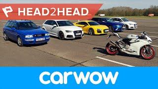 Mega Audi Drag Race: R8 v RS6 v RS3 v S1 v RS2 v Ducati 2017 | Head2Head