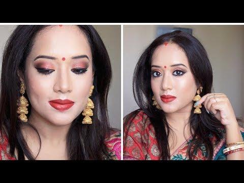 Traditional Bengali Makeup for Durgapuja/Navaratri (In Bengali)I RedCopper Festive Makeup I SwetaDas