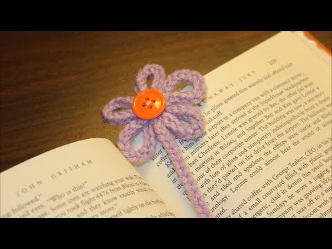 Spool Knitted Flower Bookmark