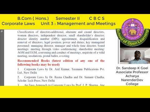 CORPORATE LAWS, MANAGEMENT & MEETINGS UNIT - 3 By - DR. SANDEEP GOEL