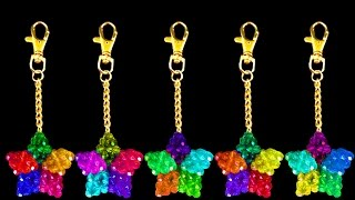 How To Make A Crystal Beads Keychain | Beaded Star Keychain | Beads Craft Ideas