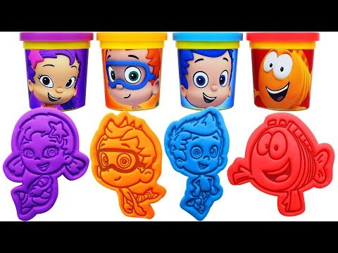 Bubble Guppies Play Doh Molds & Can Heads Learn Colors with