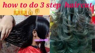 3 step haircut for medium hairs// step by step
