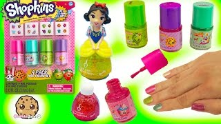 Nail Polish Painting of Disney Frozen Little Kingdom and 4 Shopkins Polishes with Stickers