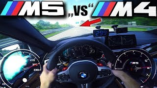 M5 F90 chasing tuned M4 on German Autobahn at over 300km/h (186 MPH) ✔