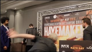 'THE LEGENDARY' MIKE GOODALL TAKES AN UNFORTUNATE TUMBLE IN FRONT OF DAVID HAYE ON STAGE!!