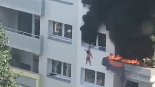 video: Two boys saved from French apartment fire after crowd catch them from three-storey fall