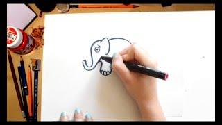 Como dibujar un Elefante - dibujos para niños
