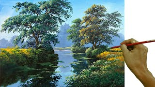 Acrylic Landscape Painting In Time-lapse / The Rivers Water Reflections / JMLisondra
