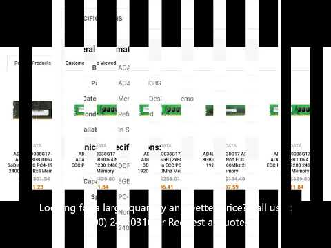 AD4U240038G17-B ADATA 8GB DDR4 Non ECC PC4-19200 2400Mhz 2Rx8 Memory