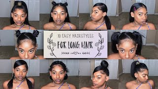 10 EASY HAIRSTYLES FOR MEDIUM/LONG NATURAL HAIR  | Ashley Liani