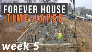 Home Build Time-Lapse | Week 5 | Poured foundation walls