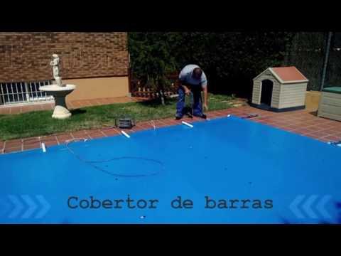 Lona-cobertor de seguridad con barras para piscinas, Iberfibra