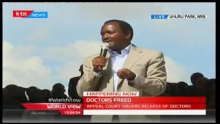 Wiper Leader Hon Kalonzo Musyoka addresses Health Workers at Uhuru Park Rally