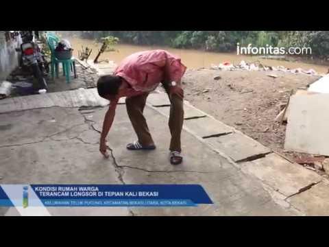 Kondisi Rumah Warga Yang Terancam Longsor Di Tepian Kali Bekasi