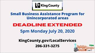 BREAKING NEWS! King County $5,000.00 Small Business Grants DEADLINE EXTENDED to 5pm July 20, 2020