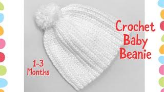 Crochet Baby Beanie  Hat 1-3 Months With Half Double Crochet Slip Stitch #108