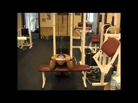 Kneeling Overhead Tricep Extension Over Flat Bench