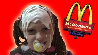 Bad Baby Real Food Fight Victoria Vs Annabelle McDonalds Hidden Eggs Toy Freaks Family