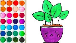 Drawing with Flowet Pot for Babies, Coloring Book for Child