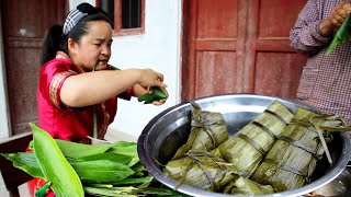 Sister Miao wraps zongzi with the help of neighbor, wish you all a happy Dragon Boat Festival
