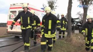 preview picture of video 'PKW an Baum geschleudert in Schneppendorf (Sachsen) 04.10.2009'