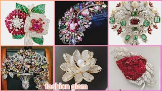 Beautiful Multi Coloured Stones Wigh Diamonds Brooches Pins