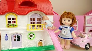 Baby doll  house slide and pink car toys play